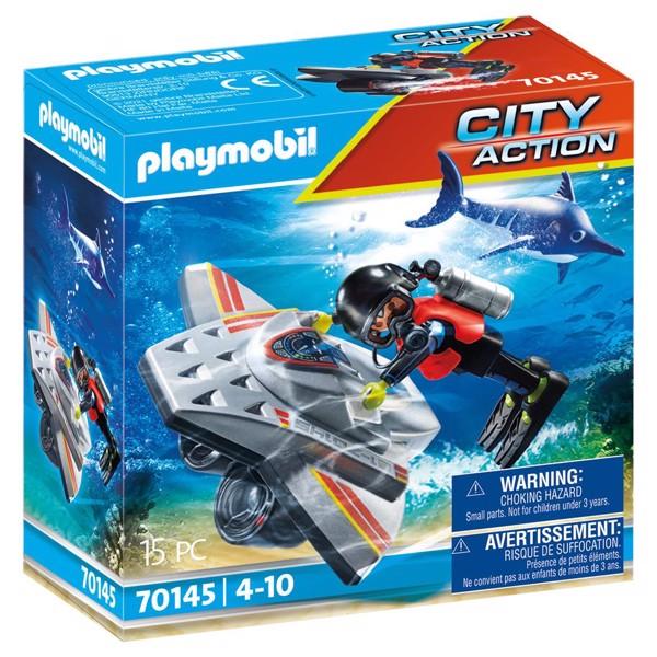Image of Skibsredning: Dykkerscooter med redningsindsats - PL70145 - PLAYMOBIL City Action (PL70145)