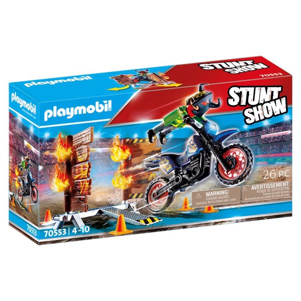 Image of Stuntshow Motorcykel med brandmur - PL70553 - PLAYMOBIL Stunt Show (PL70553)