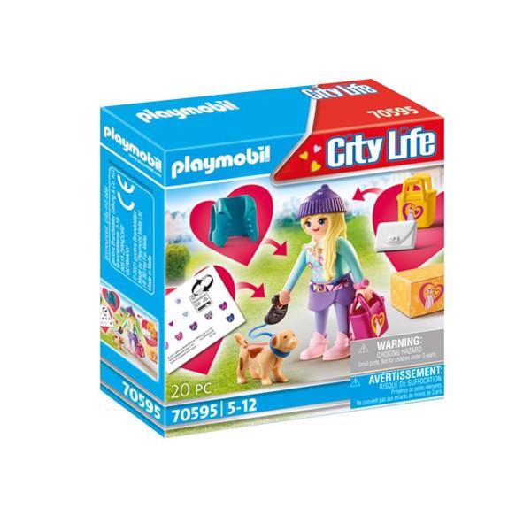 Image of Mode Pige med hund - PL70595 - PLAYMOBIL City Life (PL70595)