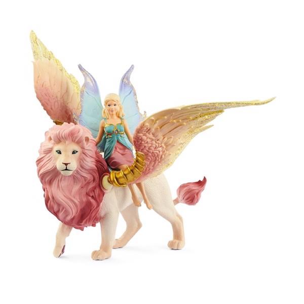 Image of Fairy in Flight on Winged Lion - Schleich (MAK-70714)