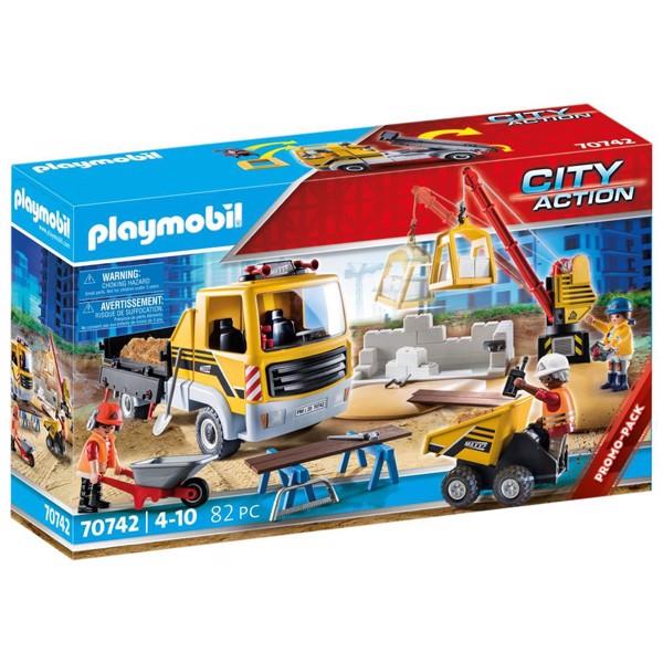 Image of Byggeplads med tipvogn - PL70742 - PLAYMOBIL City Action (PL70742)