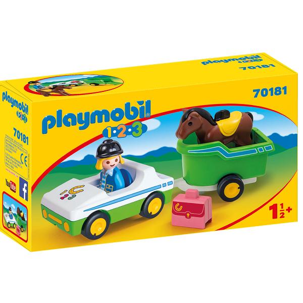 Image of Bil med hestetrailer - PL70181 - PLAYMOBIL 1.2.3 (PL70181)