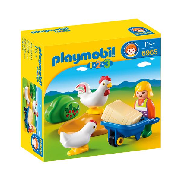 Image of Bondekone med hane og høne - PL6965 - PLAYMOBIL 1.2.3 (PL6965)