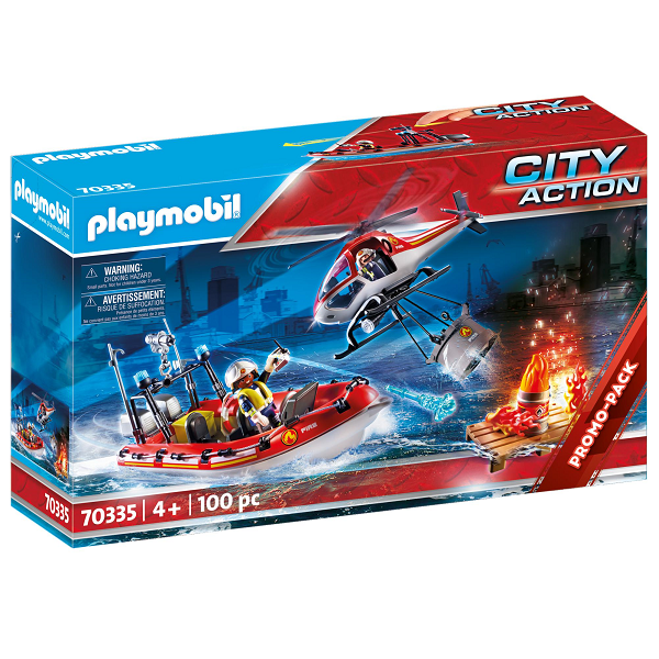 Image of Brandberedskab med helikopter og båd - PL70335 - PLAYMOBIL City Action (PL70335)