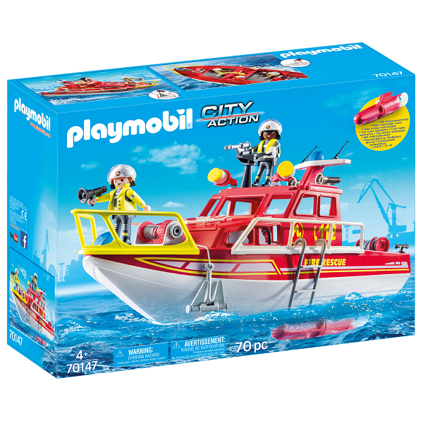 Image of Brandvæsenets redningsbåd - PL70147 - PLAYMOBIL City Life (PL70147)