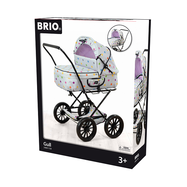 Dukkevogn, grå med prikker - 24891159 - BRIO Role Play