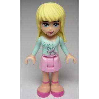 Image of   Stephanie, Bright Pink Skirt, Light Aqua Long Sleeve Top
