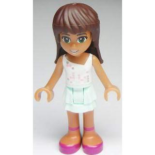 Image of   Sarah, Light Aqua Layered Skirt, White Top