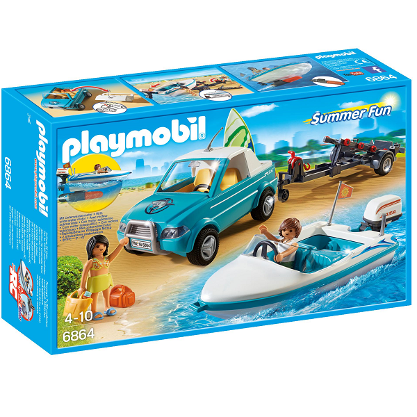 Image of Pickup med speedbåd med undervandsmotor - PL6864 - Playmobil Summer Fun (PL6864)
