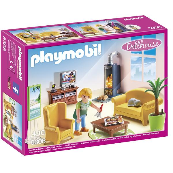 Image of Stue med pejs - 5308 - PLAYMOBIL Dollhouse (PL5308)