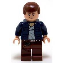 Han Solo, rødbrune ben med hylstermønster, åben jakke