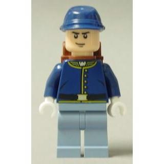 Image of   Cavalry Soldier - rygsæk, sorte øjenbryn, skævt smil - LEGO® Lone Ranger®