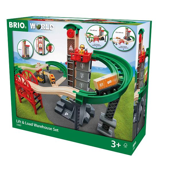 Togbane, løft og læs med lagerbygning  - BRIO