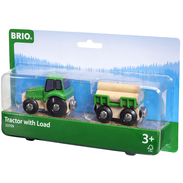 Traktor m/vogn og tømmer - 33799 - BRIO